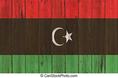 Flag of Libya painted on wooden frame