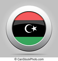 Flag of Libya. Shiny metal gray round button.