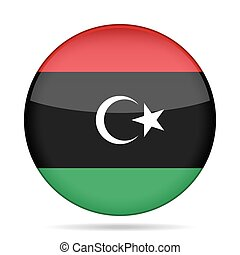 Flag of Libya. Shiny round button.