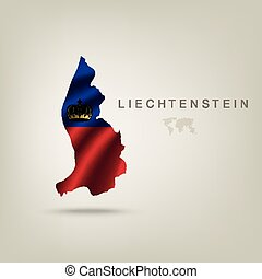 Flag of LIECHTENSTEIN as a country with a shadow
