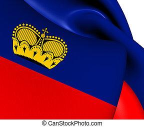 Flag of Liechtenstein. Close Up.