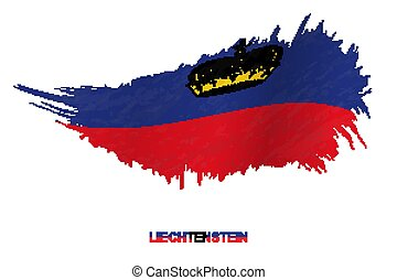 Flag of Liechtenstein in grunge style with waving effect.