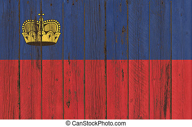 Flag of Liechtenstein painted on wooden frame