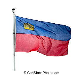 Flag of Liechtenstein waving. Isolated over white background