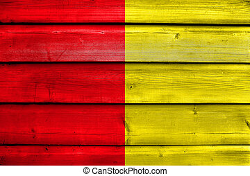 Flag of Liege, Belgium, painted on old wood plank background