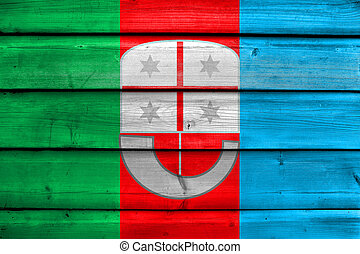 Flag of Liguria, Italy, painted on old wood plank background
