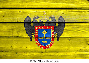 Flag of Lima, Peru, painted on old wood plank background