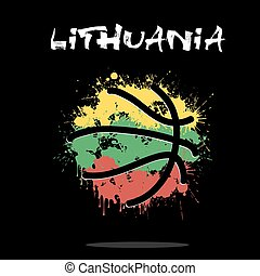 Flag of Lithuania as an abstract basketball ball
