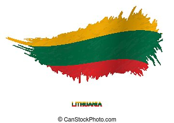 Flag of Lithuania in grunge style with waving effect.