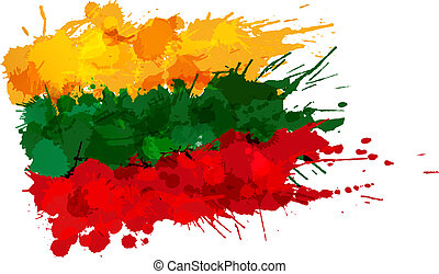 Flag of Lithuania made of colorful splashes