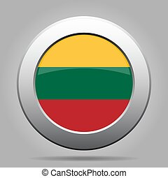 Flag of Lithuania. Metal gray round button.