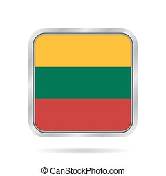 Flag of Lithuania. Metallic gray square button.