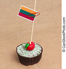 Flag of Lithuania on cupcake