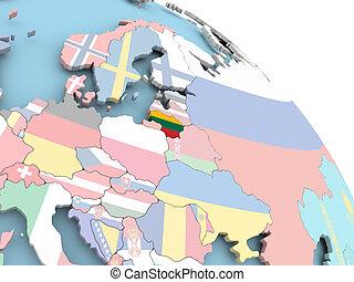 Flag of Lithuania on globe