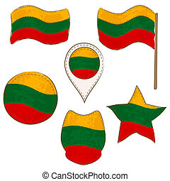 Flag of Lithuania Performed in Defferent Shapes