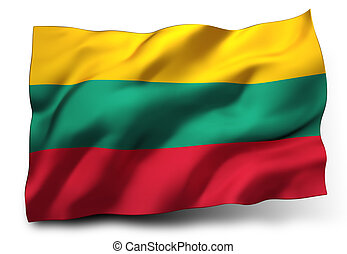 Flag of Lithuania - Waving flag of Lithuania isolated on ...