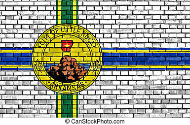 flag of Little Rock painted on brick wall