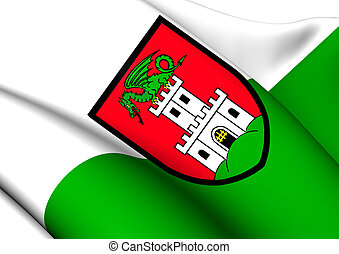 Flag of Ljubljana, Slovenia. Close Up.