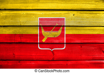 Flag of Lodz, Poland, painted on old wood plank background