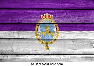 Flag of Loja, Spain, painted on old wood plank background