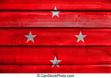 Flag of Londrina, Brazil, painted on old wood plank background