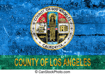 Flag of Los Angeles County, California, USA, painted on...