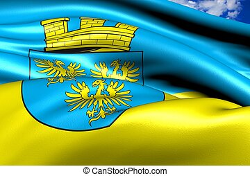 Flag of Lower Austria against cloudy sky. Close up.