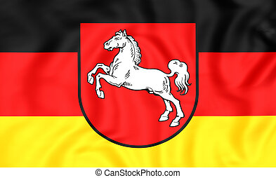 Flag of Lower Saxony, Germany. - 3D Flag of Lower Saxony,...