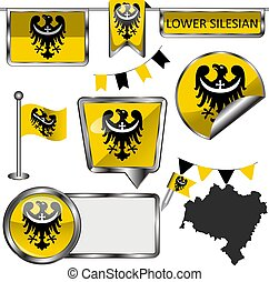 Glossy icons with flag of Lower Silesian province, Poland country. Vector image