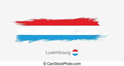 Flag of Luxembourg, grunge abstract brush stroke on gray background.