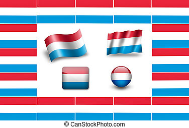flag of Luxembourg. icon set. flags frame.