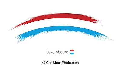 Flag of Luxembourg in rounded grunge brush stroke.