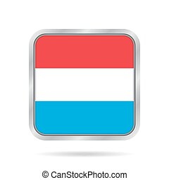 Flag of Luxembourg. Metallic gray square button.