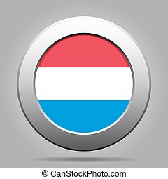 Flag of Luxembourg. Shiny metal gray round button.