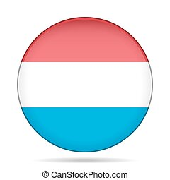 Flag of Luxembourg. Shiny round button.