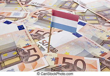 Flag of Luxembourg sticking in 50 Euro banknotes.(series) - ...