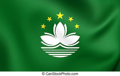Flag of Macau - 3D Flag of the Macau. Close Up.