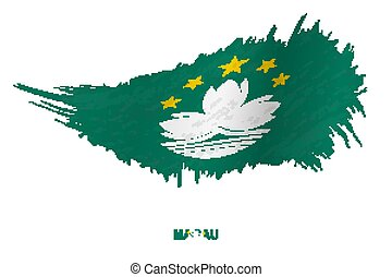 Flag of Macau in grunge style with waving effect.