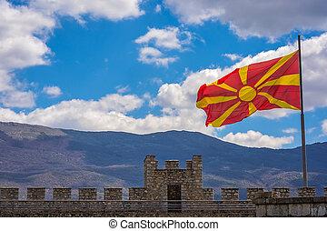 Flag of Macedonia above Samuil Castle in Ohrid