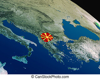 Flag of Macedonia from space - Macedonia with embedded...