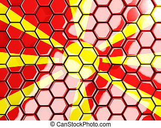 Flag of macedonia, hexagon mosaic background