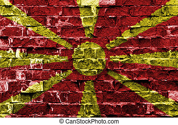 Flag of Macedonia painted on brick wall