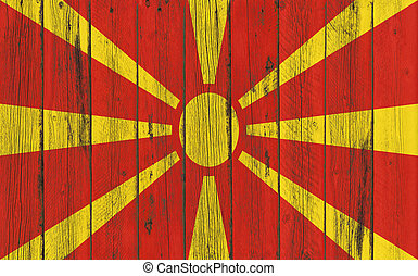 Flag of Macedonia painted on wooden frame