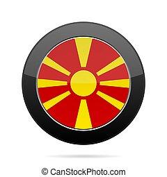 Flag of Macedonia. Shiny black round button.