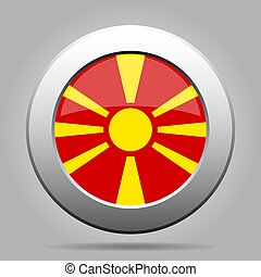 Flag of Macedonia. Shiny metal gray round button.