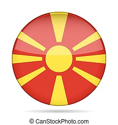 Flag of Macedonia. Shiny round button.