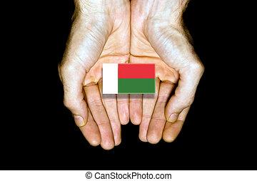 Flag of Madagascar in hands on black background