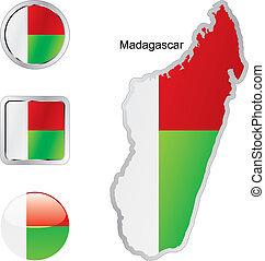 flag of madagascar in map and web buttons shapes - fully...