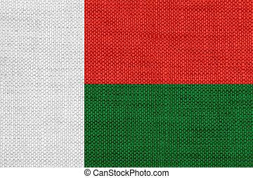 Flag of Madagascar on old linen