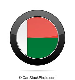 Flag of Madagascar. Shiny black round button.